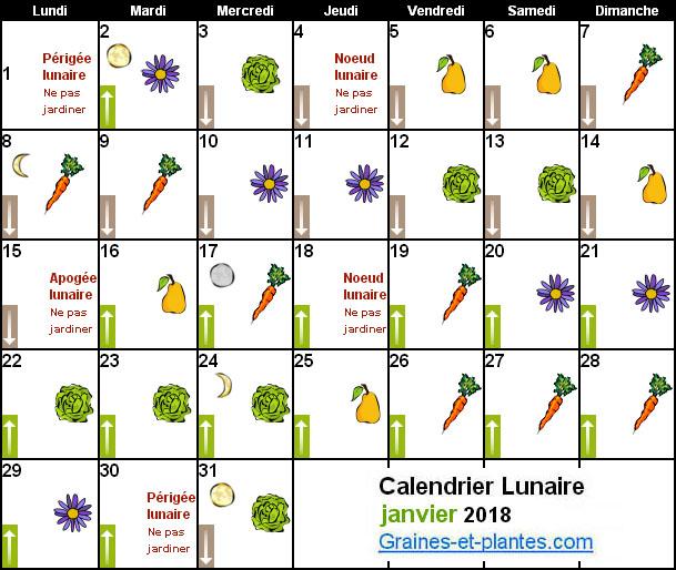 Calendrier Avec Les Lunes.Calendrier Lunaire Janvier 2018